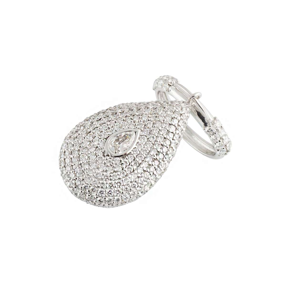 18k White Gold Diamond Set Charm Ring 5.98ct